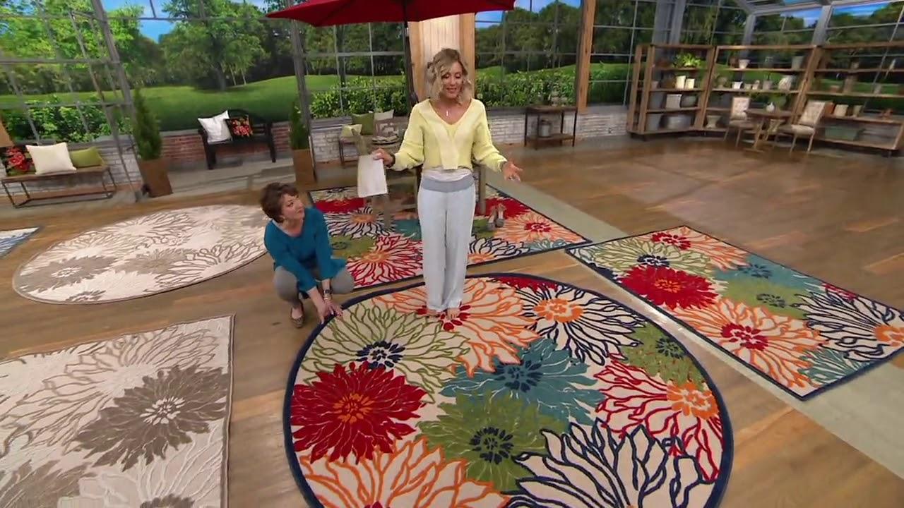 nourison zinnia indoor outdoor hi low rug on qvc