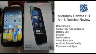 Micromax Canvas HD A116 Review- Benchmarks, Gaming, Performance, Display, Box Contents