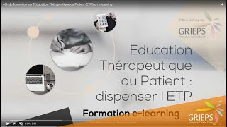 40h de formation sur l'Education Thérapeutique du Patient (ETP) en e-learning
