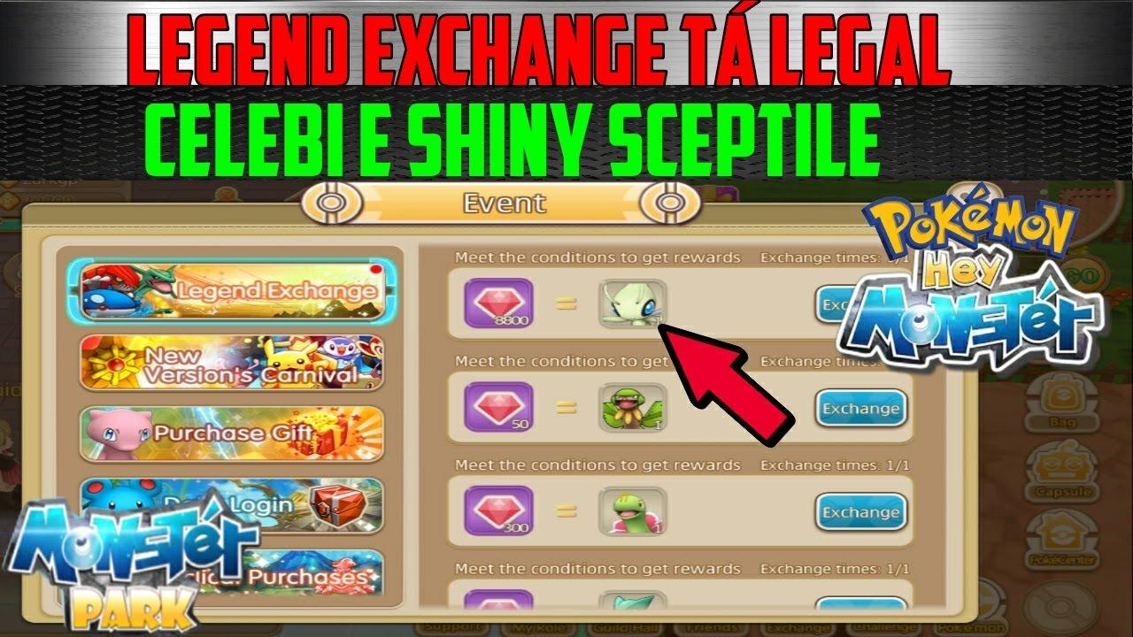 HEY MONSTER: Legend Exchange tá legal! Celebi e Shiny Sceptile, Peguei | HEY MONSTER, POKÉMON ...