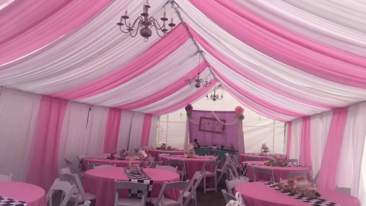 Aj S Party Rentals 20x40 Tent Pink And White Draping