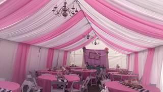 AJ حزب الإيجارات - 20x40 خيمة الوردي والأبيض اللف