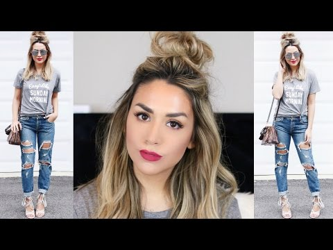 HALF UP TOP KNOT TUTORIAL + CUTE SPRING OUTFIT IDEA