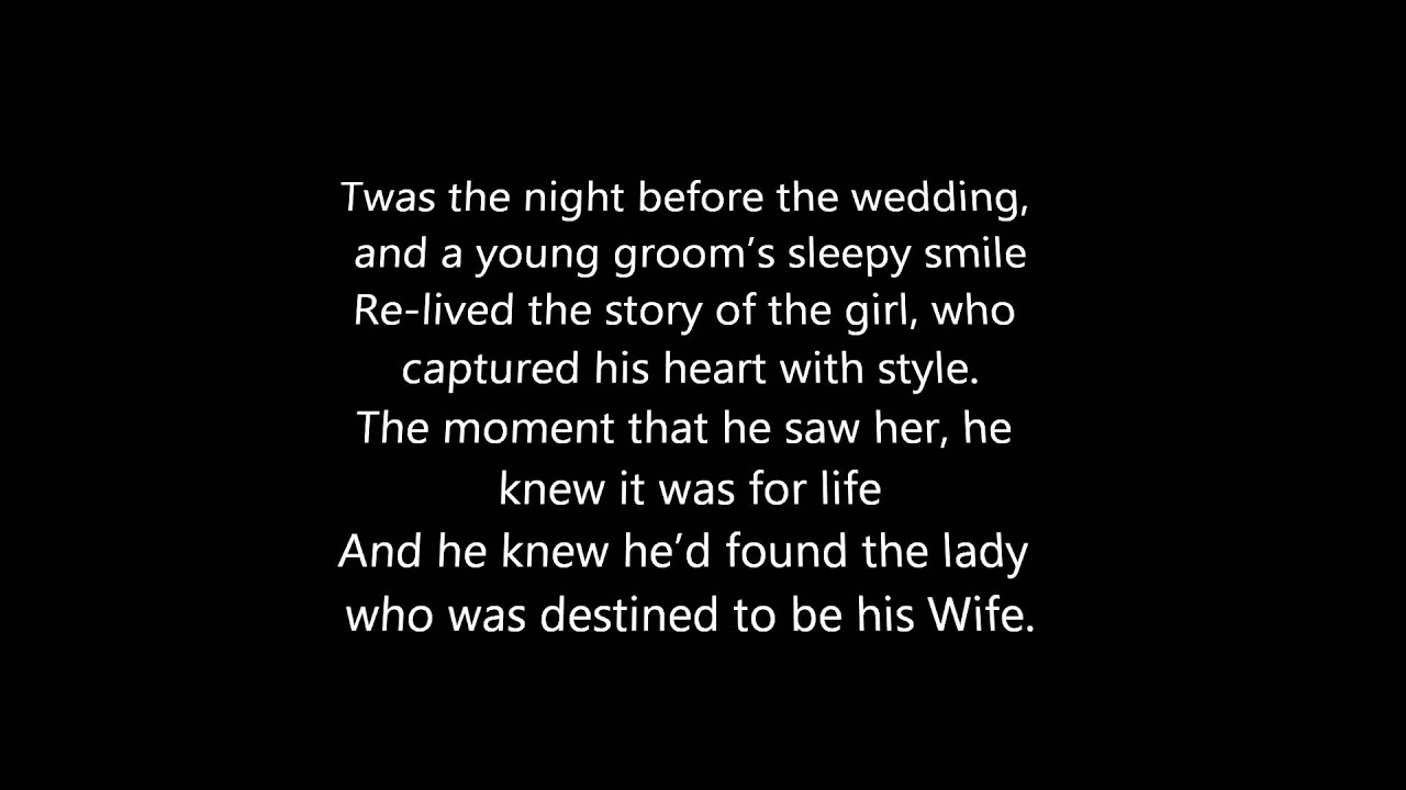 Poems For Children To Read At Weddings: Twas The Night Before The Wedding