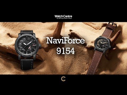 NaviForce 9154M New Men's Analog Black & Brown Leather Watch