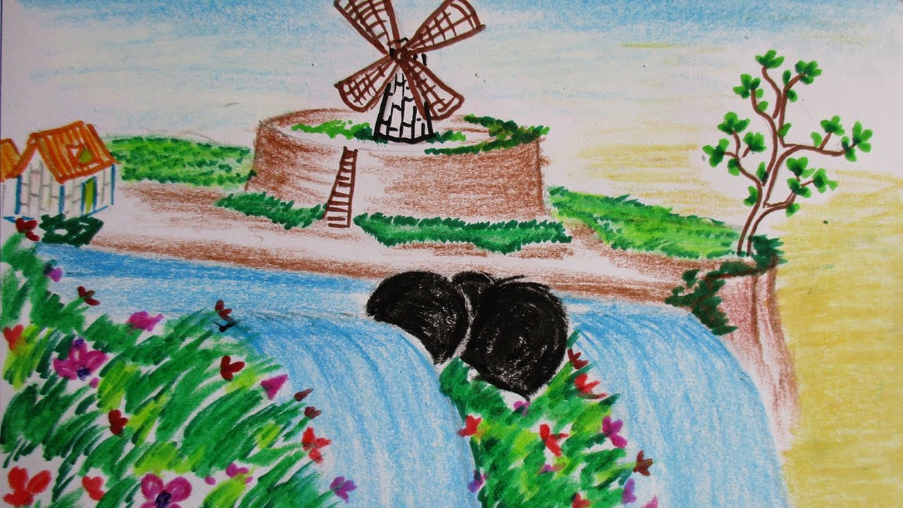 How to draw and paint waterfall scene with colorful flowers how to draw and paint waterfall scene with colorful flowers alongshore scenery drawing channel28 ccuart Images