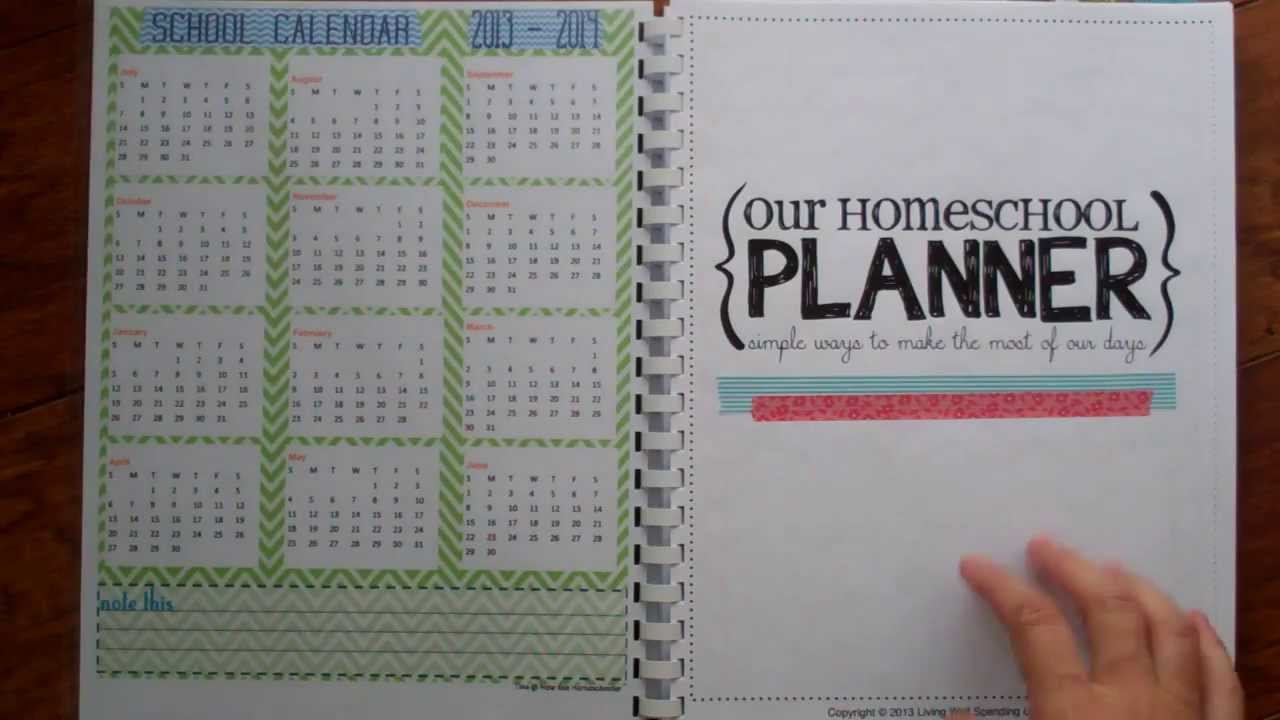 Tour of my diy homeschool planner 2013 2014 youtube for For planner
