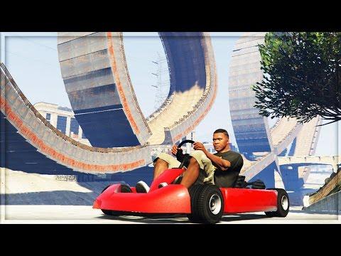 GTA V - GO-KART MEGA RAMP STUNTS GAMEPLAY! (GTA 5 Mods Funny Moments)