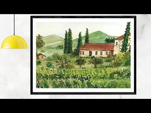 Watercolor Landscape Painting for Beginners | Tuscany Farm House In Italy | Tutorial Demonstration