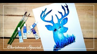 Water Colour Galaxy Painting of Santa Claus and Reindeer | Christmas Special | Drawing Tutorial