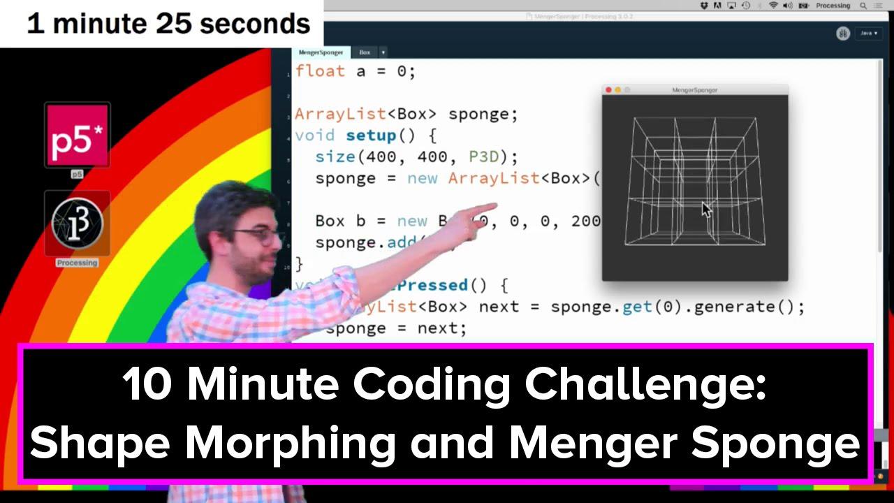 Live Stream #31: Shape Morphing and Menger Sponge in Processing