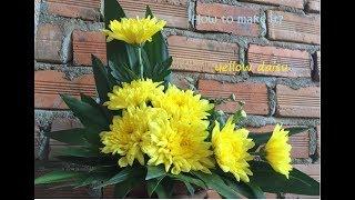 Lynt - Cắm hoa ep05: Lẵng hoa cúc để bàn thờ hình chữ L (Easy Flower Arranging with yellow daisy)