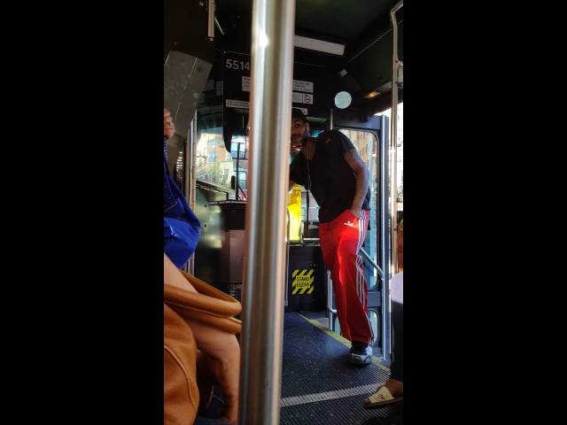 Disrespectful Guy verbally assault and tries to provoke the MTA bus driver into fight...