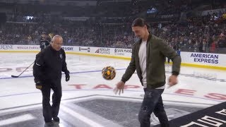 Zlatan Ibrahimovic drops the puck at LA Galaxy Night with the LA Kings