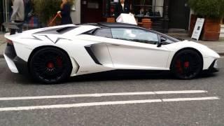 White Lamborghini aventador sv LP750-4 2016 London on street (+sound at the end)