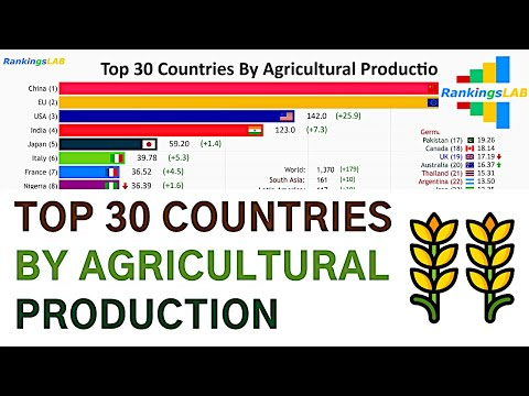 Top 30 Countries By Agricultural Production, And The European Union (1960-2018) [4K]