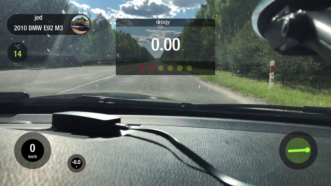 E92 M3 dragy run 1/4 mile 100-200 - YouTube