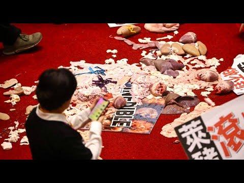 Protestaktion: Schweine-Schlacht im Parlament von Taiwan