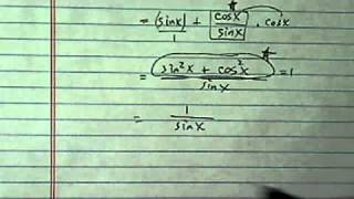 how to find trig value csc x if sinx cotx cosx square root of 3