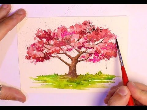 pk-how-to-paint-a-tree---watercolor-painting---cherry-blossom-trees-tutorial-art