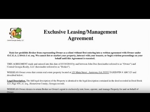 Understanding Our Leasing/Management Agreement by GTL Real Estate, GA and FL Property Management