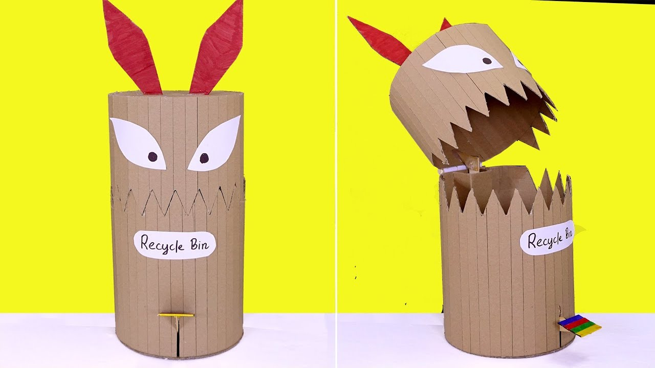 Diy Funny Toy Trash Can From Cardboard Recycle Bin For Kids