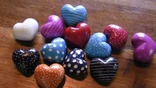 Hand Carved Stone Hearts Set of 5
