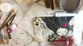 "Art Journal mix media ""Drink Tea"" speed painting"