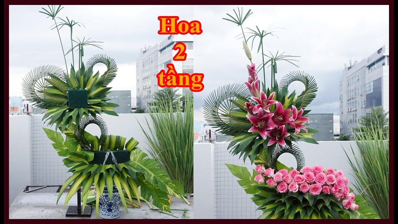 Hướng dẫn cắm lẳng hoa 2 tầng để bàn thờ Hoa Hồng mix Hoa Ly hồng