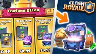 YOU WONT BELIEVE THESE OFFERS! BUYING ALL FORTUNE OFFER PACKS IN CLASH ROYALE!