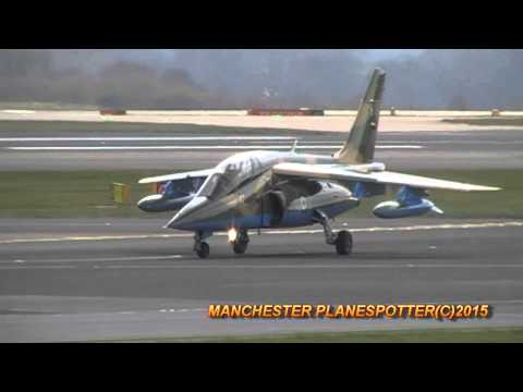 Nigerian Air Force Alpha Jet Number NAF477 Landing And Taxing At Manchester Airport On 25/03/2015