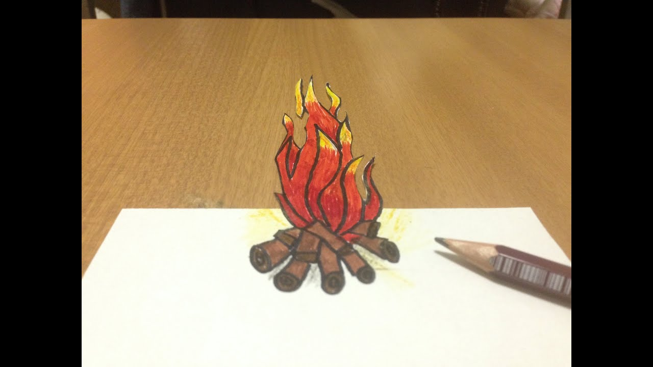 3d fire drawing anamorphic illusion tricks art youtube
