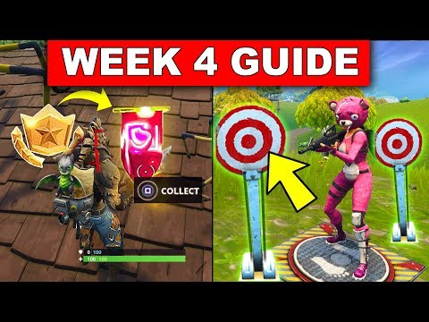 Fortnite WEEK 4 CHALLENGES GUIDE! – Shooting Gallery Locations, Secret Battle Star changed by Banner