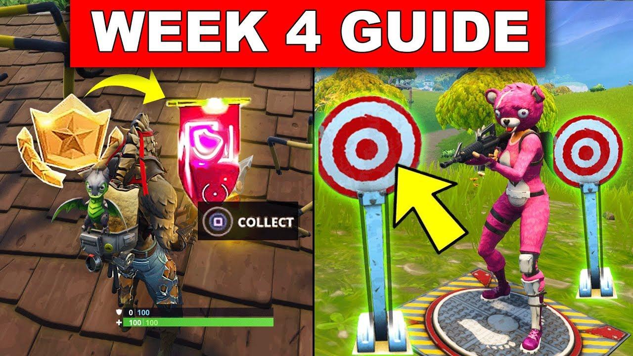 Shooting Gallery Locatios: Fortnite WEEK 4 CHALLENGES GUIDE!