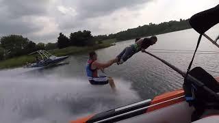 Barefoot Waterskiing Using Human as Rope - 1010278