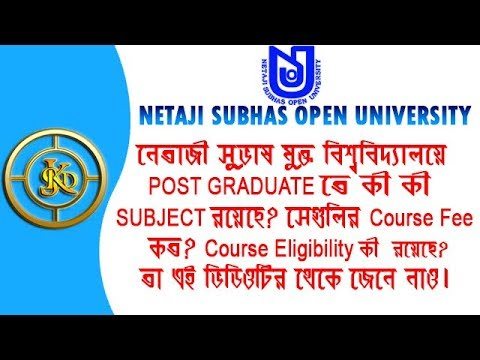 Information About Postgraduate Degree offered at Netaji Subhas Open University 2018