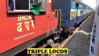 ALCO Bhubaneswar Jagdalpur Hirakhand VS Triple Loco Freight