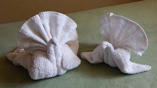 Towel folding turkey or bird, towel folding tutorial, towel animal, towel folding creativity