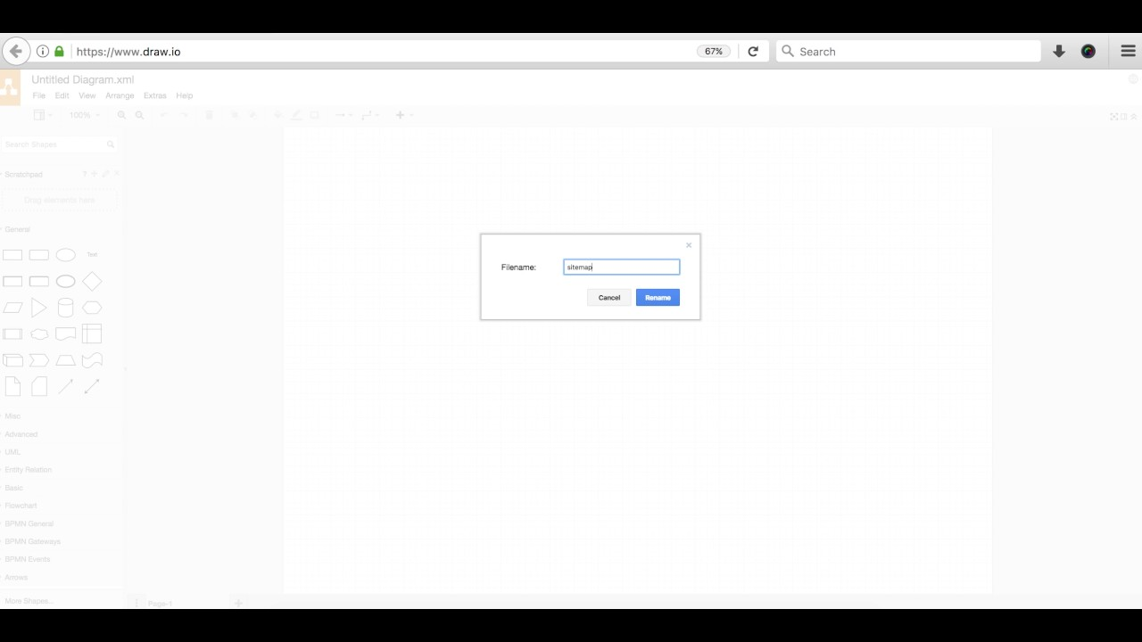 website diary 06 draw io basics to make sitemap youtube