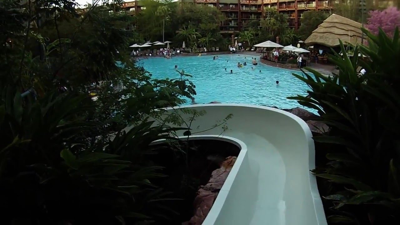Animal Kingdom Lodge Jambo House Pool Slide Clips Gopro