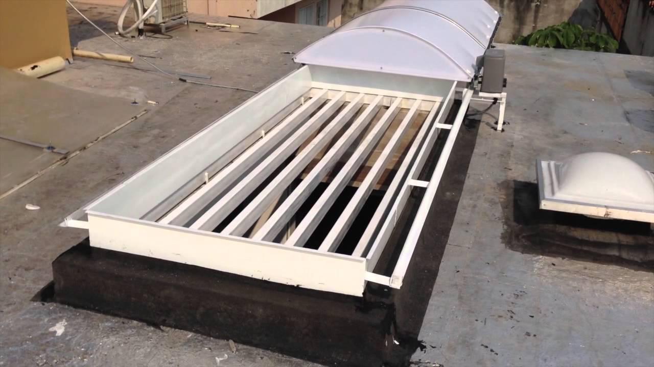 Techo claraboya o cupula corrediza policarbonato motor a for Claraboyas para techos