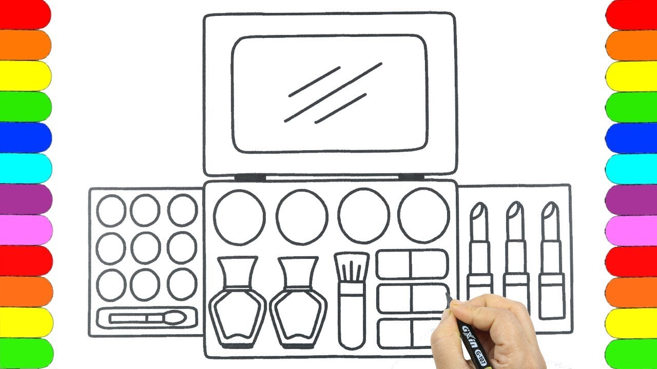 How to draw Makeup set/ Cosmetics, Brushes, Lipstick,Coloring Pages / Fun Coloring Pages for kids