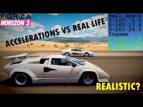 Forza Horizon 3 VS Real Life - Acceleration Times Compared - 41 CARS