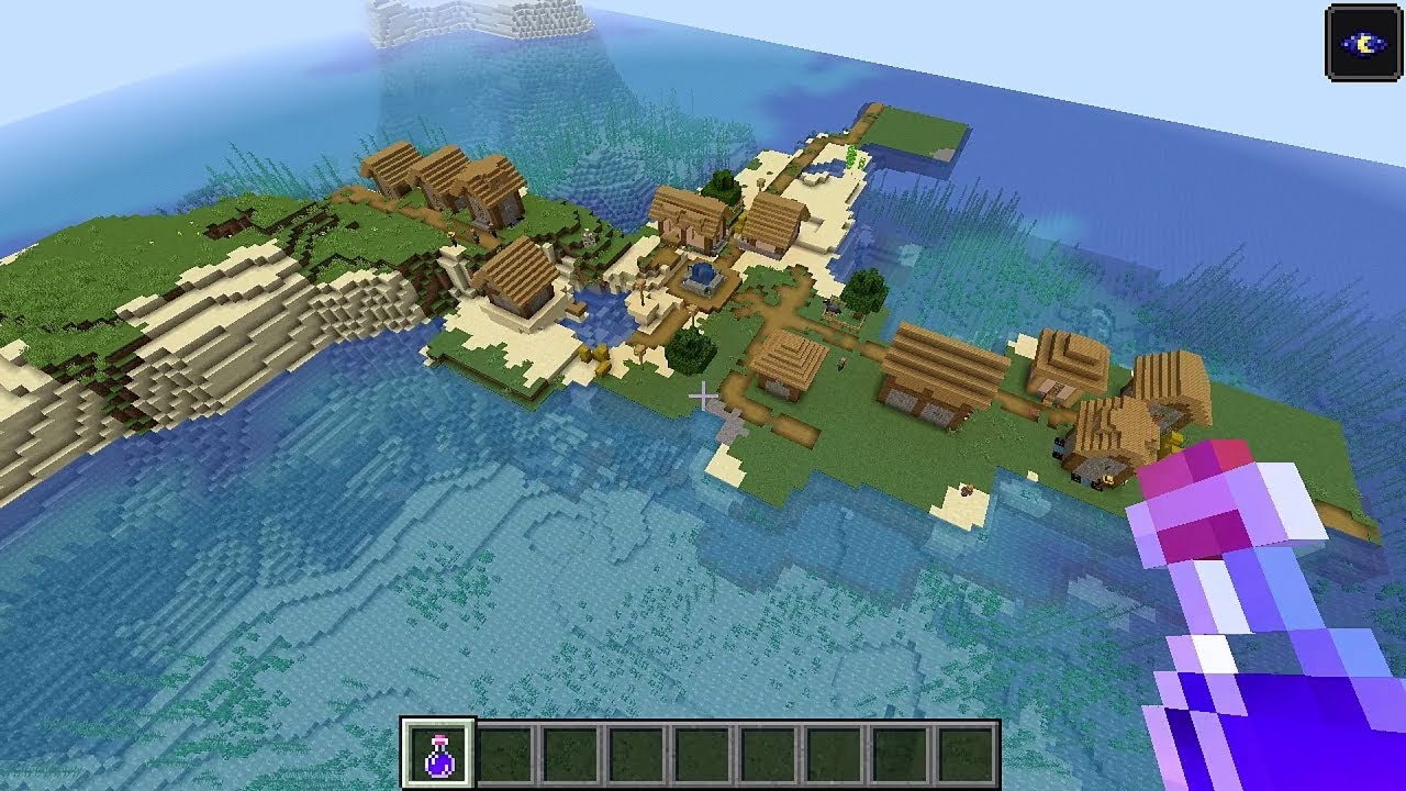 Minecraft 11.111 Seed 111: Island village, ocean temple, shipwrecks