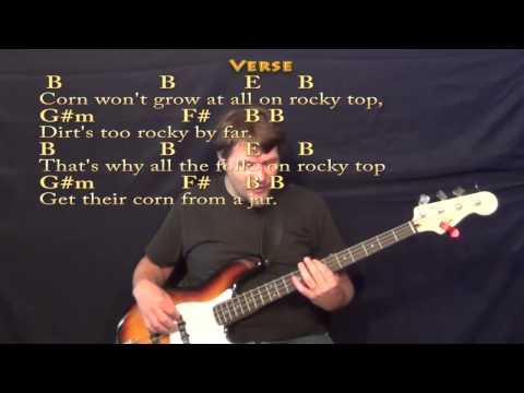 Rocky Top - Bass Guitar Cover Lesson in B with Lyrics/Chords