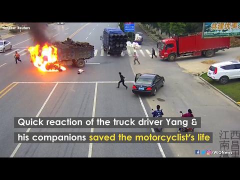 Good samaritan truck driver rescues motorcyclist after fiery crash