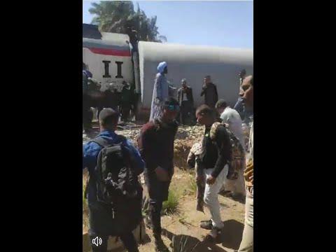 تصدم قطارين في سوهاج طهطا #حادث_قطار_سوهاج