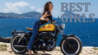 Beautiful Brunette Girls on Motorcycles