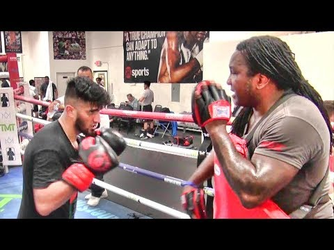 Gheith Muhammed Training Inside The Mayweather Boxing Club With Dewey Cooper
