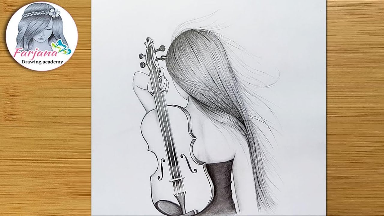 Very easy way to draw a girl with violin - Pencil sketch for beginners ||  Easy Drawing Technique